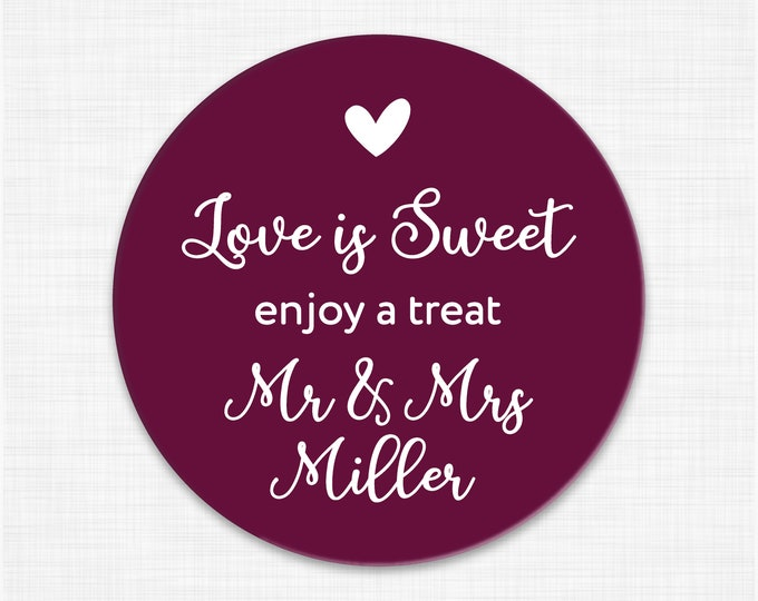 Custom love is sweet wedding thank you stickers for mason jars, Wedding stickers for favours, Wedding labels personalized