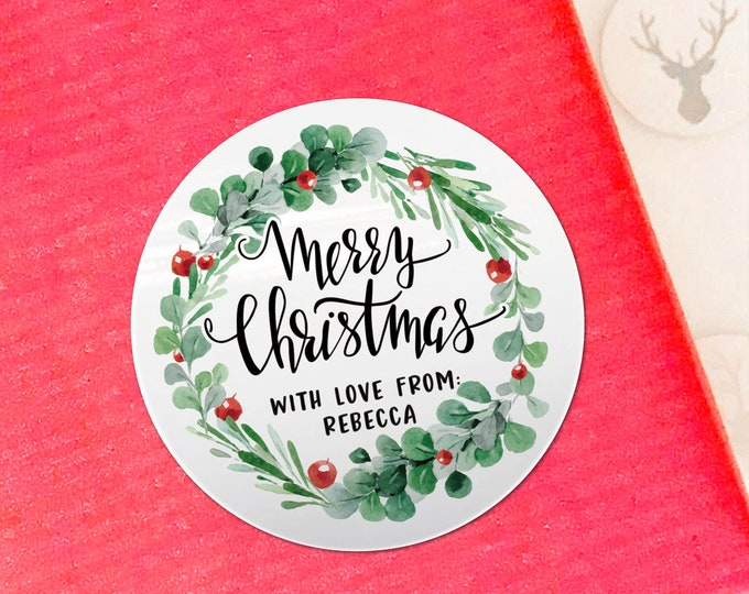 Personalised Custom Christmas stickers labels Merry Christmas stickers Gift stickers, Holiday stickers, Xmas stickers, Winter stickers