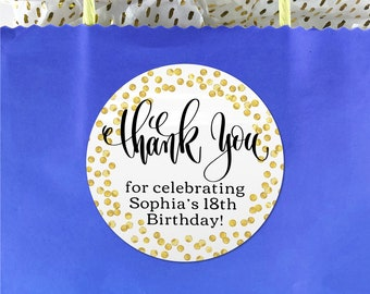 Gift bag thank you cute birthday party stickers, Custom happy birthday sticker, Party favor sticker thank you for coming to my party sticker