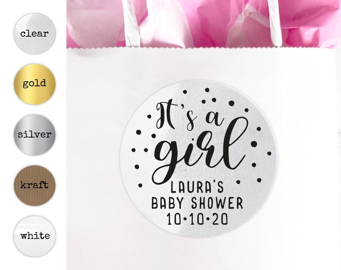 It's a girl baby shower favors gift bag stickers for baby shower, Baby shower labels