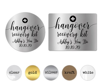 Personalised hangover kit wedding stickers and labels, Custom wedding stickers party favour labels, Hangover kit labels, Bridal survival kit