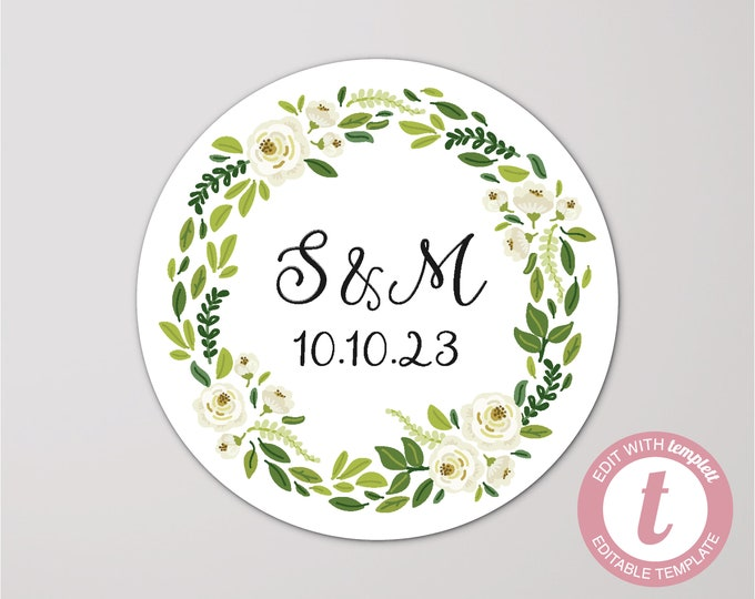 Custom digital download wedding name round labels stickers, Personalized round sticker, Printable wedding stickers, Circle monogram stickers