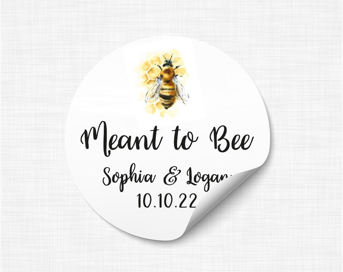 Wedding favor sticker sheet custom labels meant to bee wedding stickers, Custom honey labels, Bee sticker labels for jars - WC18