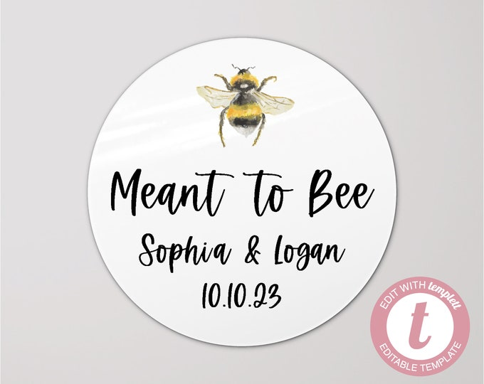 DIGITAL custom name meant to bee wedding thank you stickers, Personalized round sticker, Thank you favour stickers, Digital download