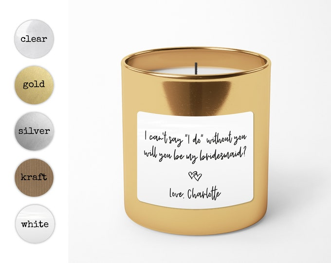 Bridesmaid proposal gift soy candles custom stickers, Personalized candle labels, Custom candle label, Gift for bridesmaid