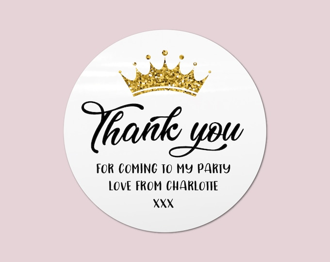 Princess party favor bag thank you stickers sweet cone stickers, Thank you for coming, Stickers for birthday, Princess party favours