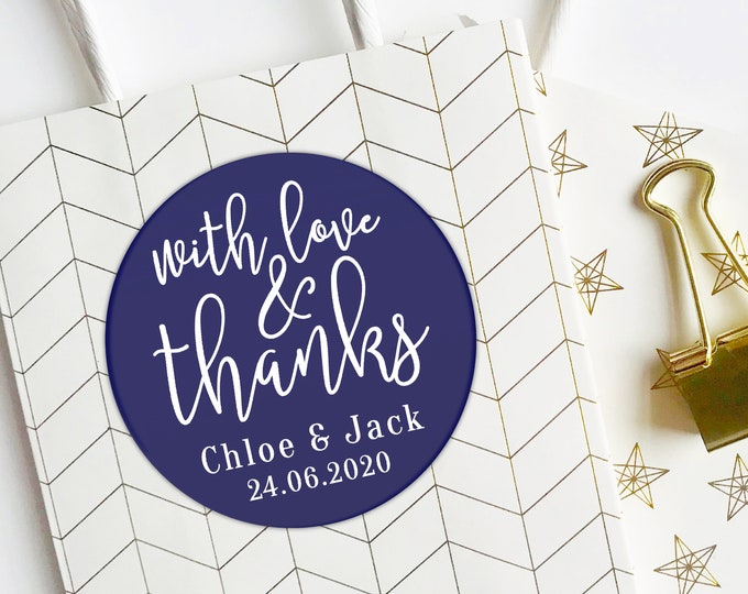 Featured listing image: Personalized Thank You Stickers, Wedding Envelope Seals, Party Favor Labels, With Love and Thanks Stickers, Shipping & Branding Stickers