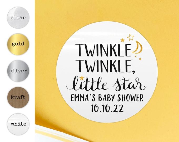Twinkle twinkle little star baby shower stickers, Twinkle twinkle little star labels