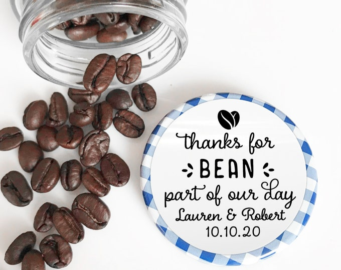 Thanks for bean here sticker labels personalised party favor stickers, Wedding thank you stickers, Hen party favour, Round stickers