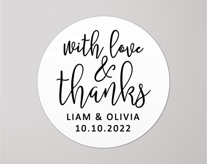 Custom with love and thanks stickers wedding thank you tags, Wedding Envelope Seals, Party Favor Labels