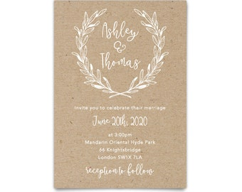Barn wedding invite with save the date cards, Backyard wedding kraft invitation, Rustic wedding invite, Country wedding rustic invitation
