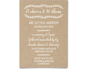 Kraft wedding invitation printed wedding card, Barn wedding invites kraft invite, Rustic wedding invitation, Recycled kraft cheap invitation
