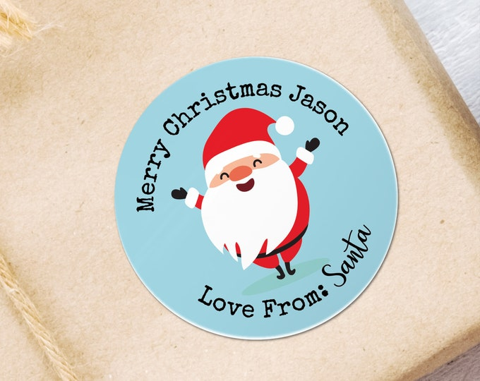 Merry Christmas Holiday Stickers from Santa Custom Gift Tags Round Present Tags Xmas Circle Stickers Round Sticker Labels