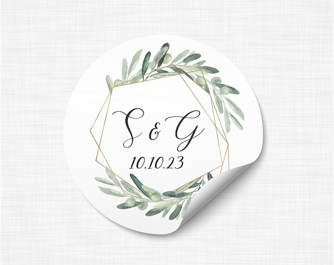 Custom monogram wedding envelope initial seals stickers labels, Custom sticker labels, Wedding invitation seal - WC19