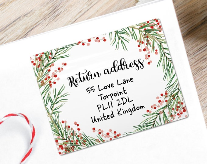Christmas return address labels, Return address labels stickers, Personalized return address labels, Custom return address, 20 stickers