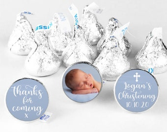 Christening hershey kiss sticker hershey kiss labels, Custom stickers for hershey kisses, Chocolate thank you stickers, Candy stickers
