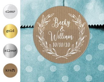 Personalised wedding stickers for favours, Rustic wedding stickers, Clear favor stickers, Gold wedding stickers, Custom sticker wedding tags