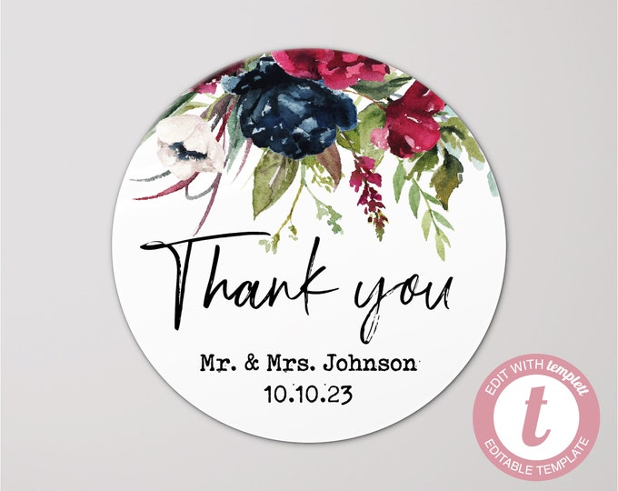 Custom wedding thank you name stickers bridal shower favors, Personalized round sticker, Thank you favour stickers, Party name stickers
