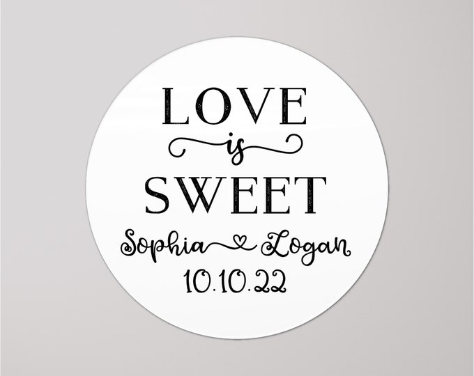 Love is sweet wedding stickers for mason jars, Wedding stickers for favours, Wedding labels personalized custom stickers for jam jars