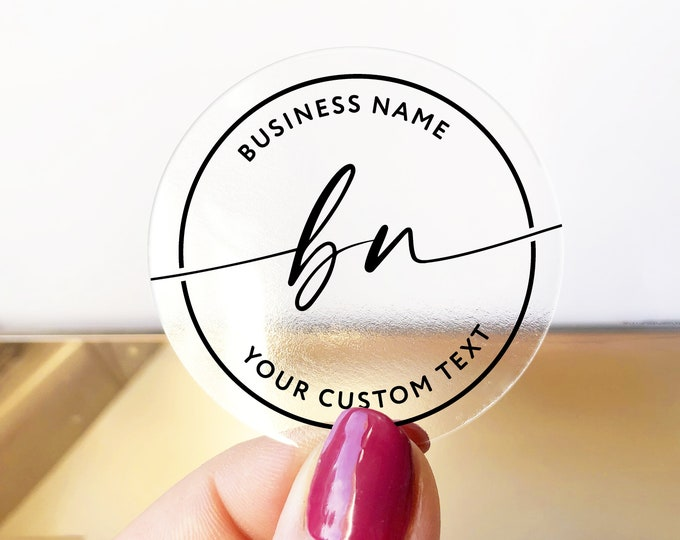 Custom business logo branding clear stickers labels, Clear Business Logo Labels, Packaging Supplies for Etsy Shops - BS28