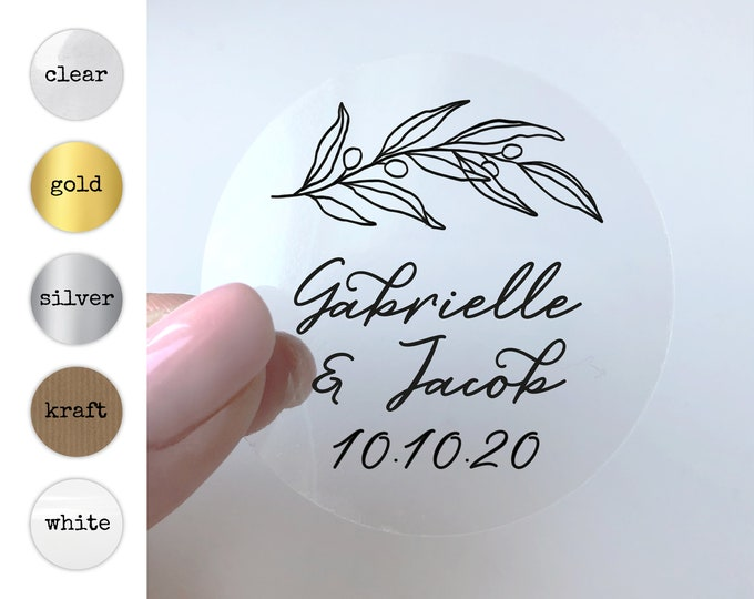 Monogrammed Wedding Invitation Stickers, Monogram Envelope Seals, Elegant Initial Decals, Thank You Note Labels, Round Gold Sticker Labels
