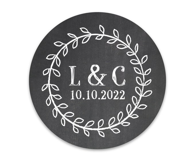 Round wedding name decal sticker labels for jars,  Wedding favor sticker envelope seals, Custom name sticker, Monogram sticker