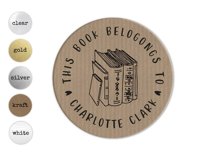 Custom book lover gift book teacher name stickers, Personalized sticker sheet, Book club decal, Round teacher stickers