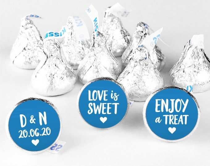 Love is sweet hershey kiss stickers,  Wedding stickers for favors, Hershey kiss labels, Wedding Hershey Kisses, Wedding favor stickers