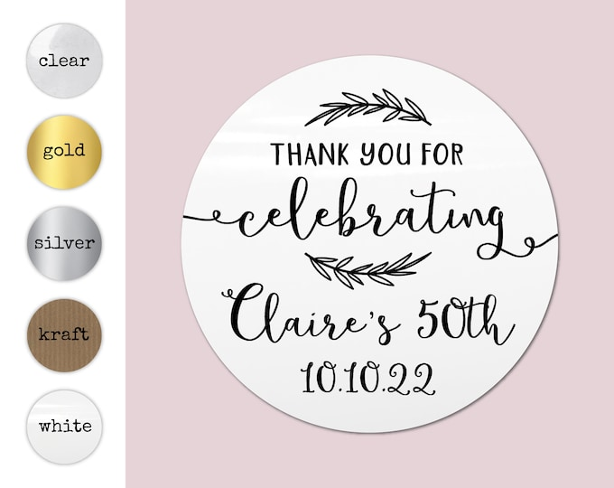 Personalised thank you stickers party bag sticker custom happy birthday sticker, Kid party favor stickers, Round gift stickers - BP40