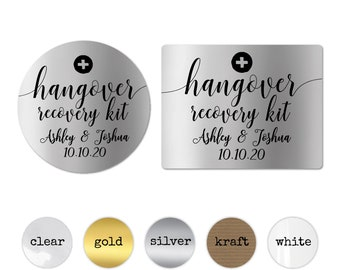 Personalized Hangover Recovery Kit Stickers, Bridesmaid Gift Decals, Groomsmen Gift Stickers, Wedding Favor Labels, Party Favor Stickers