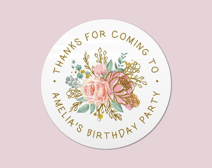 Thank you for coming to my party stickers custom birthday stickers, Gift bag stickers, Circle stickers, Party favors round stickers - BP15
