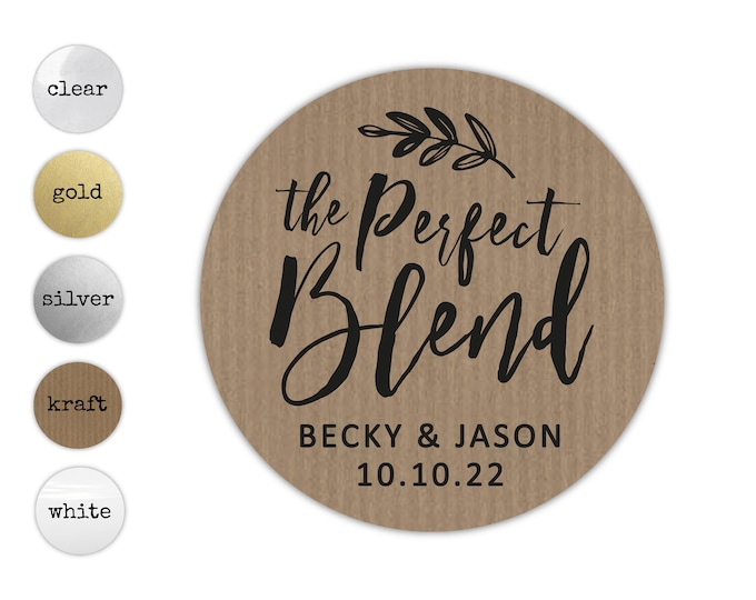 The perfect blend wedding thank you coffee gift stickers, Personalized sticker labels sheet, Party favor stickers for favors