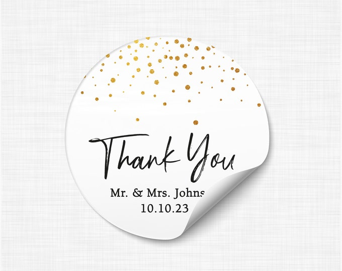 Custom wedding birthday thank you stickers tags, Personalized party favor stickers, Graduation thank you labels, Thank you stickers - WC03