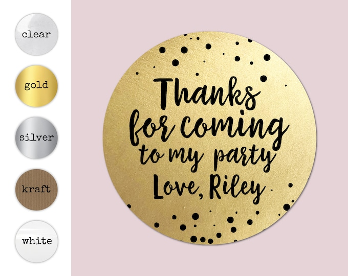 Thank you for coming to my party stickers sheet, Stickers for birthday party labels, Custom stickers sheet, Happy birthday stickers -BP 37