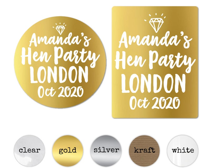 Personalised hen party stickers for bags, Bridesmaid labels, Hen do favour stickers, Bachelorette party sticker, Bride tribe stickers