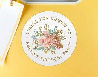 Thank you for coming to my party stickers custom birthday stickers, Gift bag stickers, Circle stickers, Party favors round stickers