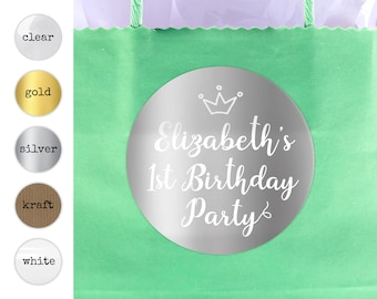 Princess party favor personalised happy birthday thank you stickers, Birthday party labels, Round gift sticker, Custom name stickers
