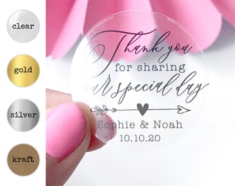 Clear stickers personalised, Transparent stickers wedding, Custom sticker labels