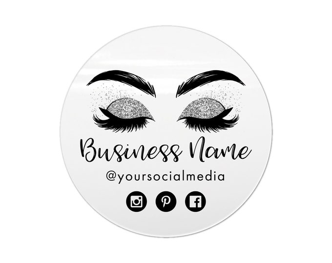 Eyelash extension label design logo sticker, Eyelash logo business sticker, Lashes custom logo sticker, Business lash logo clear stickers