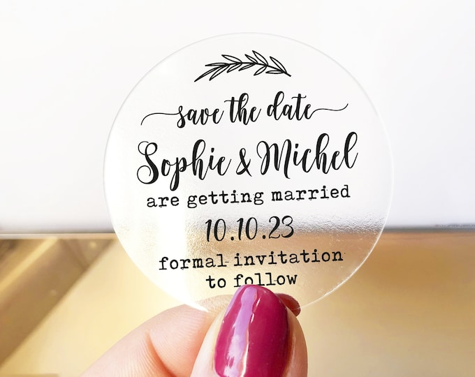 Save change the date custom wedding round labels stickers, Personalized sticker labels, Save the Date round envelope stickers - RW52