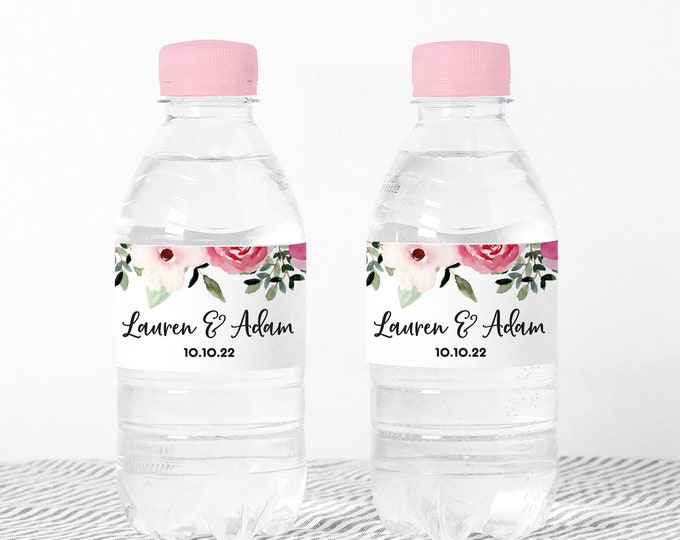 Custom wedding water bottle labels name stickers, Waterproof party favor stickers, Waterbottle wraps, Water bottle stickers girls