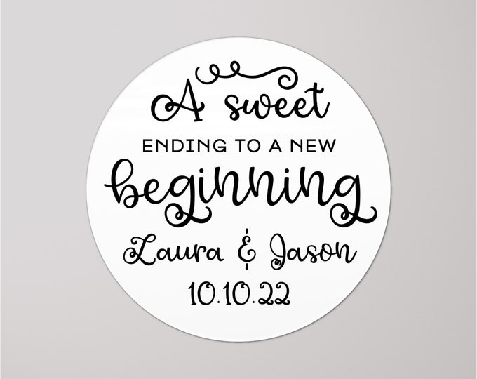 Welcome bag custom design round graduation stickers,  Personalized sticker labels, A sweet ending to a new beginning sticker, Favor sticker