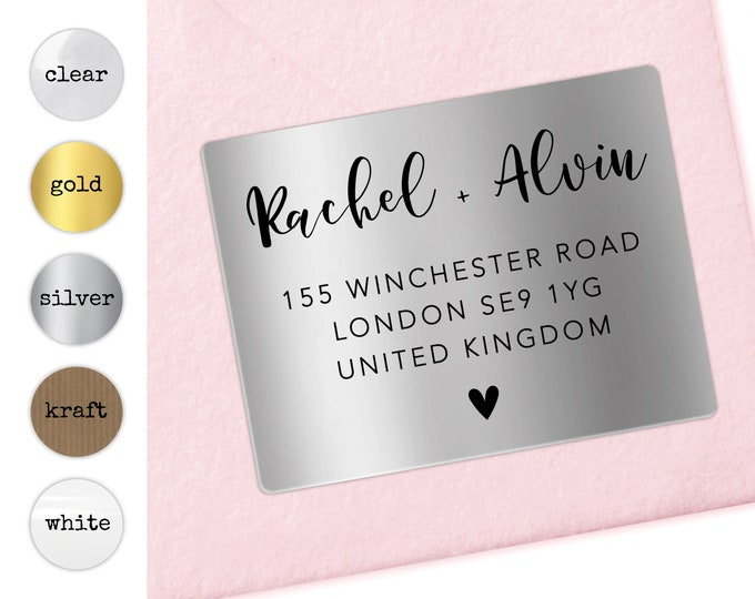 Return address label, Personalized wedding address sticker, Clear address label, Modern address label, Return mailing calligraphy labels