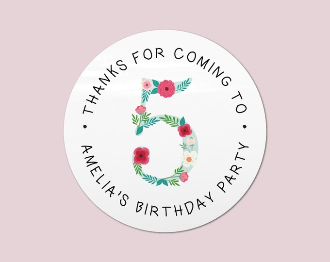 Happy birthday party favor stickers, Thank you for coming to my party stickers, Goodie bag stickers first birthday, Round stickers - BP23