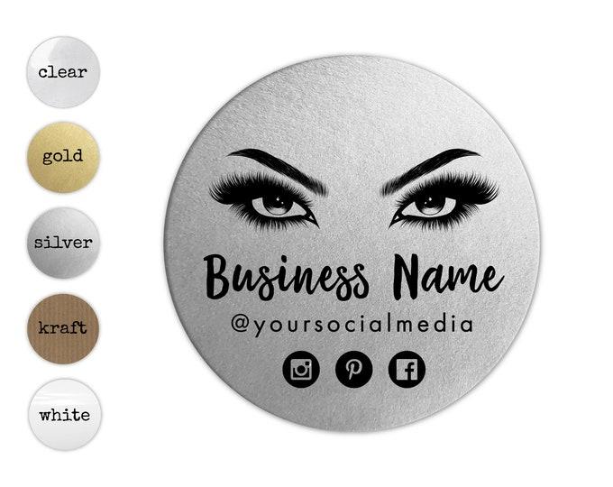 Eyelash extension label design logo sticker, Eyelash logo business sticker, Lashes custom logo sticker, Business lash logo clear stickers