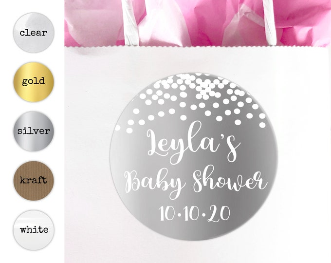 Baby shower stickers for a girl, Baby shower labels by Blooms
