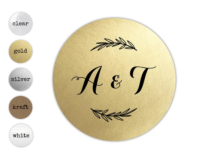 Monogrammed Wedding Invitation Stickers, Monogram Envelope Seals, Elegant Initial Decals, Thank You Note Labels, Round Gold Sticker Labels