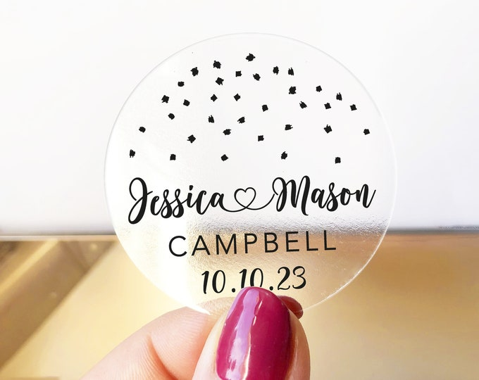 Custom monogram thank you wedding favors decal tags stickers, Personalized circle monogram sticker,  Round sticker labels - RW23