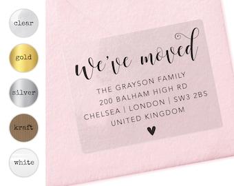 We've moved custom return address clear sticker labels, We've moved labels,  Personalized return address sticker, Gold sticker