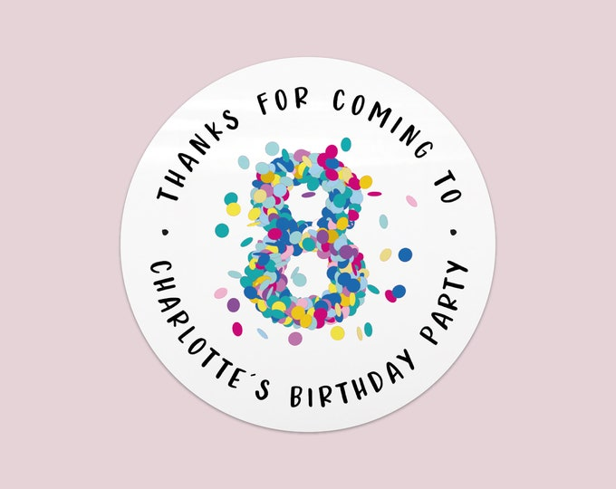 Personalised stickers confetti labels birthday party happy birthday stickers, Favor bag stickers, Custom stickers sheet - BP06